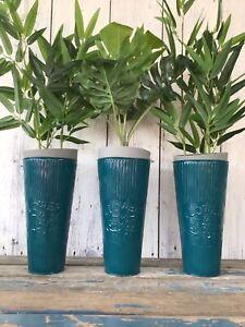"Set of 3 New Stylish Tall Metal 24.5 cm Teal Blue ""Flower & Garden"" Vase Pot"