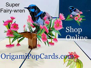 ORIGAMI POP CARDS Blue Wren Aussie Bird 3D Pop Up Greeting Card Happy Birthday