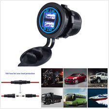12-24V Car Blue LED Dual USB Charger Socket 2.4A&2.4A With Wire In-line 10A Fuse