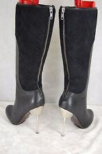 UN UNITED  HIgh HEEL WOMEN BLACK LEATHER & QUILTED SUEDE  BOOTS  EU 37 US 7