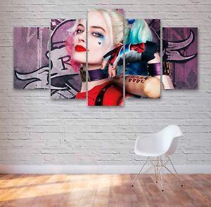 Harley Quinn Movie 5 Panel Canvas, 5 Piece Wall Art, Multi Panel Canvas #042
