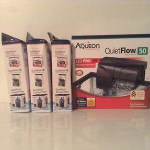 Aqueon QuietFlow LED PRO 50 Aquarium Power Filter  50 Gallons+9 EXTRA FILTERS