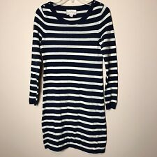 Banana Republic Womens Wool Cashmere Blend Sweater Dress, Navy Blue Stripe, XS