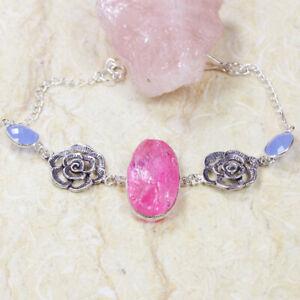 "Rough Pink Topaz 925 Silver Plated Handmade Gemstone Bracelet 9.2"" Ethnic Gift"