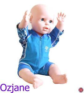 BABY BOYS UV UPV 50+ SUN PROTECTION SWIM SUIT 3-24 TODDLER RASH GUARD OZCOZ BLU
