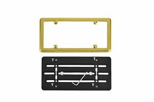 Front Bumper License Plate Bracket + GOLD Frame for CHEVY FREE SHIPPING
