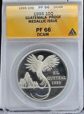 Guatemala 1995 10 Quetzales Silver Medallion Low Mintage of 150 ANACS PF 66 DCAM