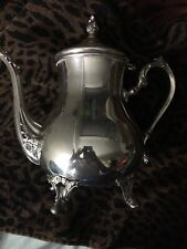 """Vintage Footed Silverplated Coffee Tea Pot    WM Rogers Flowers - Approx 9"""" Tall"""