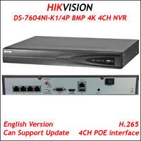 Hikvision DS-7604NI-K1/4P 4CH 4K NVR 4POE Port H.265 Embedded Plug 8MP 1 SATA