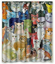 """Kids Bath Decor Colorful Cats Waterproof Polyester Fabric Shower Curtain 60x72"""""""