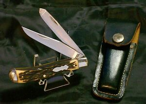 Schrade 285UH Folding Knife Hunter's Trapper Stag Appearance Handles W/Sheath
