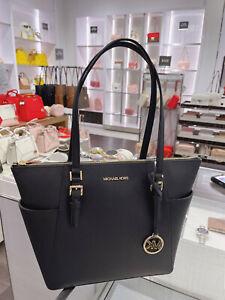 Michael Kors Charlotte Solid Black Leather Large Top Zip Tote Handbag Bag Black