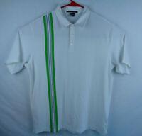 Nike Tiger Woods Collection Mens XL Green Stripe White Dri Fit Golf Polo Shirt