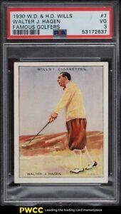 1930 Wills Famous Golfers Walter Hagen #7 PSA 3 VG