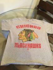 Chicago Blackhawks Gray Majestic T-Shirt Medium Excellent Condition