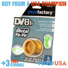 [WINTER SALE] YoYoFactory DV888 Responsive Metal Yo-Yo - Gold + STRINGS