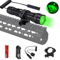 Tactical Red/Green LED Flashlight Hunting Torch Weapon Mount Rifle Gun Rail US