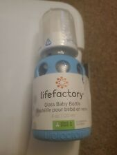 Lifefactory 4 oz. Glass Baby Bottle with Silicone Sleeve - Sky