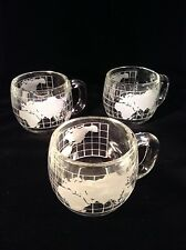 Set of 3 vintage Nescafé Nestlé clear globe mugs/cups