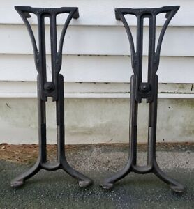 Vintage Antique Rugged Cast Iron Adjustable Industrial Legs Table Base