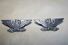 WW2 PATTERN WAR EAGLES COLONEL RANK BADGES SCREW POST FITTING PAIR