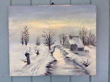 """Original Signed Oil Painting Noted German Artist Ernest W.Krupp """"Rural Cottage"""""""