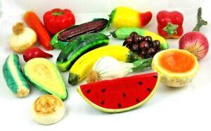 Paper Mache Decorative Assorted Fruits & Vegetables Lot of 18