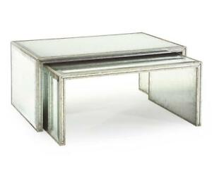 """43"""" W Set of 2 Nesting Cocktail Tables Antique Silver Leaf Finish Metal****"""