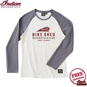 Women's BSMC x Indian Motorcycle Long Sleeve Slim Fit Baseball Tee, Gray/Cream