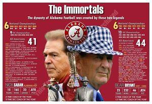 """Alabama Coaching Immortals: Bear Bryant and Nick Saban 19""""x13"""" Commemorative Pos"""