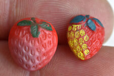 Two Vintage Red Glass Kiddie Goofie Realistic Sewing Button Strawberry Fruit