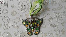 Colgante mariposa verde en plata tibetana + regalo cordon
