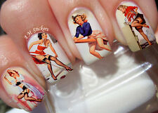 Vintage Women A1057 Nail Art Stickers Transfers Decals Set of 22