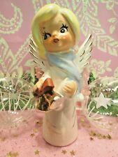 Vtg Christmas Angel W Gold Caroling Bells Blue Muffler Scarf W White Pom Poms