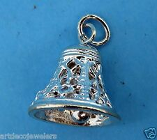 Vintage silver CHRISTMAS / WEDDING FILIGREE BELL MOVABLE BRACELET charm NEW #F