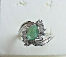 NATURAL AAA GREEN EMERALD COLUMBIAN OVAL & WHITE CZ STERLING 925 SILVER RING 6.5