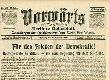 VORWÄRTS (6. Oktober 1918): Für den Frieden der Demokratie!