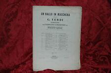 Un Ballo in Maschera di Giuseppe Verdi 1860 Tito Ricordi per Clarinetto e Piano