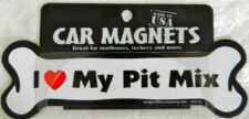 Dog Magnetic Car Decal, Bone Shaped, I Love My Pit Mix, Made in Usa, 7""