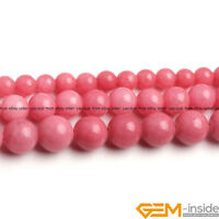 "Pink Jade Gemstone Round Beads For Jewelry Making Strand 15"" 6mm 8mm 10mm"