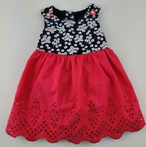 Gymboree Baby Girl Size 0-3 Pink Floral Dress With Diaper Cover Summer Dress