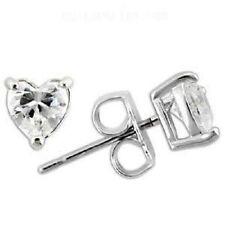 Butterfly Fastening Heart Stud Sterling Silver Fine Earrings