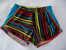 NIKE Shorts M Ladies Bright Multicolored Striped Lined Logo Run Yoga Scalloped