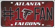 NFL Atlanta Falcons  #1 Fan Metal Sign License Plate Tag Man Cave