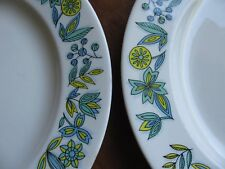 "LOT 2 Royal Ironstone China Dutch Treat 10"" Plate Teal Blue Yellow Flower MOD"