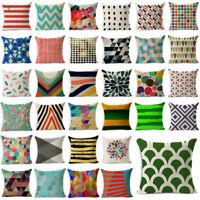 Vintage Cover Cotton Throw Geometric Cushion Linen Pillow Sofa Home Decor Case