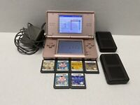 Nintendo DS-Lite Coral Pink Game Console Bundle WITH 6 GAMES And Game Cases