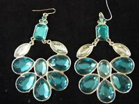 Vintage Pair Large Dangling Pierced Earrings Gems Aqua Costume Fashion Jewelry