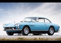 BLUE FERRARI 330 GT NEW A2 CANVAS GICLEE ART PRINT POSTER
