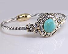 Designer Turquoise Clear CZ Crystal Silver Gold Cable Magnetic Bangle Bracelet